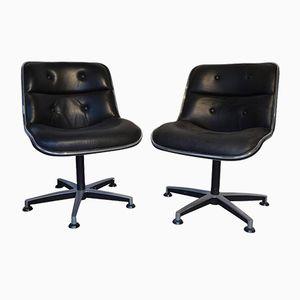 Chaises de Bureau en Cuir Noir et en Chrome par Charles Pollock, 1970s, Set de 2