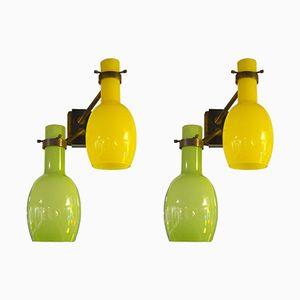 Italian Murano Glasses Sconces in Green & Yellow, 1960s, Set of 2