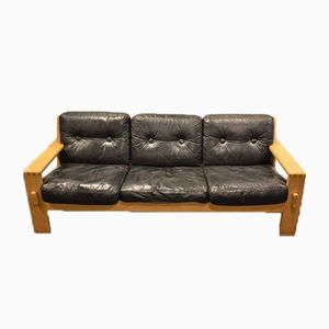 Danish Sofa in Teak & Leather, 1960s