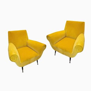 Vintage Italian Yellow Velvet Armchairs by Gigi Radice, Set of 2