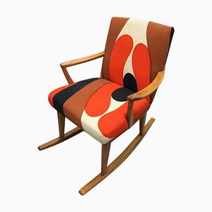 Danish Rocking Chair with Marie Menko Fabric, 1970s