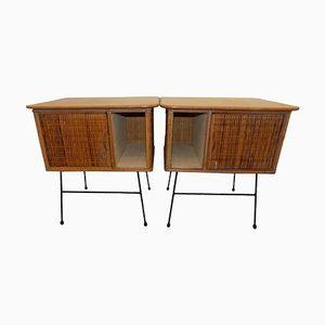 Italian Wicker Nightstands, 1960s, Set of 2