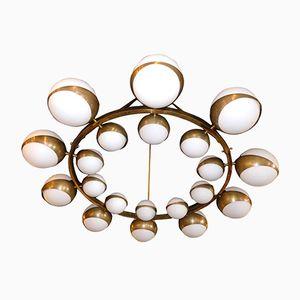 Vintage Round 12-Lamp Modernist Chandelier