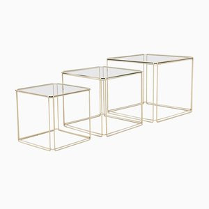 Mid-Century Modern Metal and Glass Nesting Tables by Max Sauze