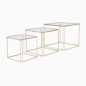 Mid-Century Modern Metall und Glas Satztische von Max Sauze