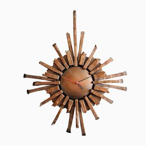 Large Wrought Iron Sunburst Wall Clock, 1960s
