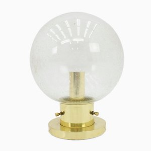 Glass and Brass Wall or Ceiling Light from Glashütte Limburg, 1970s