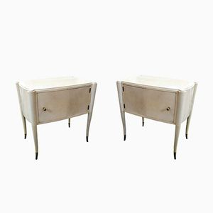 Vintage Italian Nightstands in Parchment, Set of 2