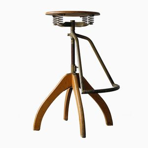 Industrial Rotatable Wooden Stool with Footrest