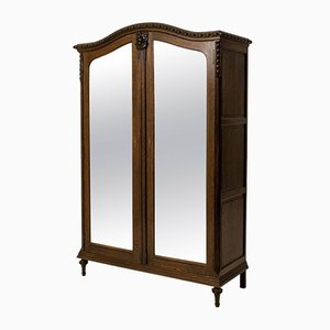 French Art Nouveau Wardrobe with Original Beveled Glass Doors