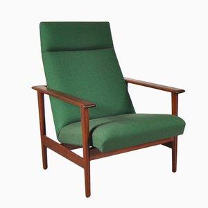 Teak Polsterstuhl mit Grünem Bezug, 1960er