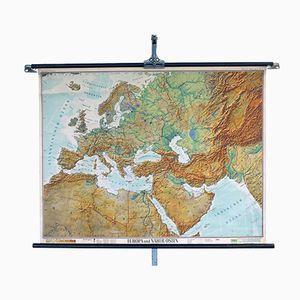 Vintage Europa & Naher Osten Schulwandkarte