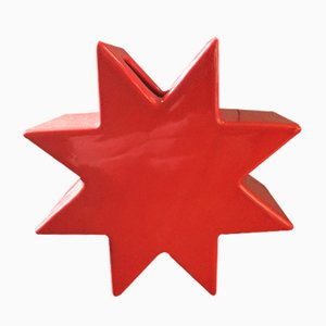 Ceramic Red Star Vase by Sottsass