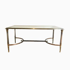 Brushed Steel and Brass Coffee Table from Maison Jansen, 1940s