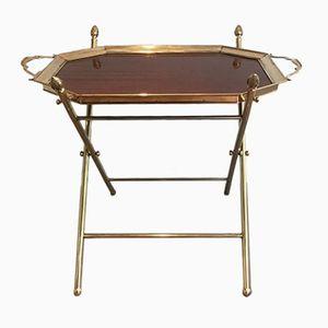 Holz und Messing Tisch mit Tablett von Maison Bagues