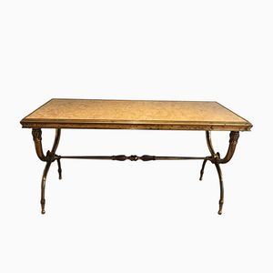 Neo-Classical Coffee Table with Marble Top by Raymond Subes