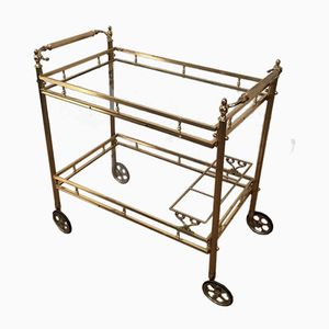 Neo-Classical Brass Serving Trolley on Wheels