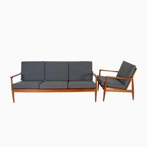 Mid-Century Danish Teak Sofa & Armchair