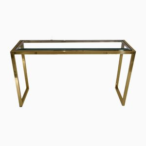 Italian Console Table in Brass & Chrome, 1970s