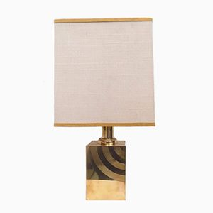 Brass Table Lamp with Fabric Shade, 1970s