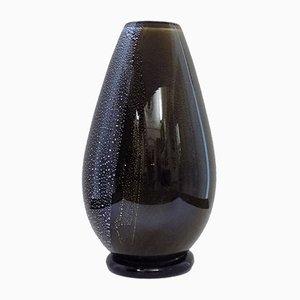 Vase Noir en Verre Murano, Italie, 1950s