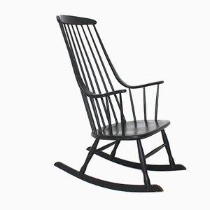 Rocking Chair Grandessa Noir par Lena Larsson pour Nesto, 1960s
