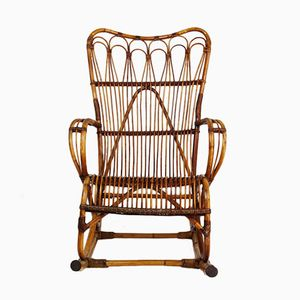 French Rattan Rocking Chair, 1960s