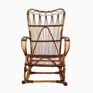Rocking Chair en Rotin, France, 1960s
