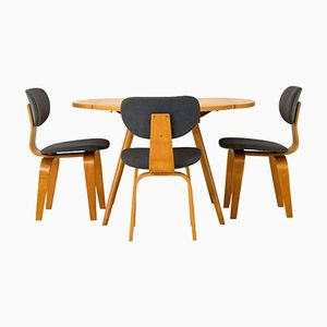Drop-Leaf Table with 3 Chairs by Cees Braakman for Pastoe