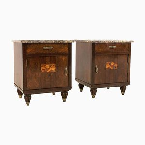 Art Deco Nightstands with Purple Marble Tops, Set of 2