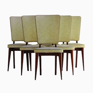 French Vinyl Dining Chairs, Set of 6