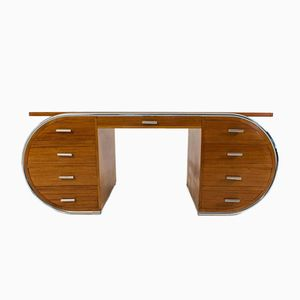 Französischer Mahagoni und Stahlrohr Art Deco Schreibtisch, 1930er