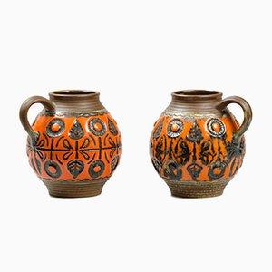 Glasierte Vintage Keramik Krüge, 2er Set