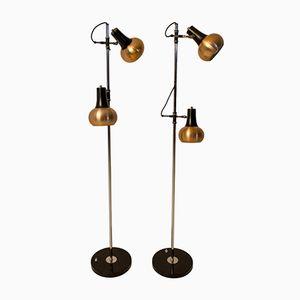 Vintage Copper Floor Lamps, Set of 2