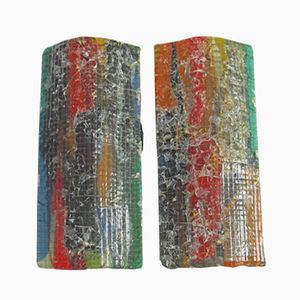 Glas Wandlampen von Tetterode Glass Studio, 1960er, 2er Set