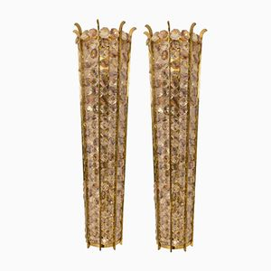 Large Italian Mid-Century Brass and Crystal Sconces, Set of 2