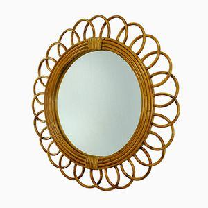 Round Riviera Chic Rattan Mirror, 1950s