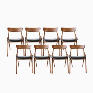 Black Leather and Oak Chairs by Arne Hovmand-Olsen for Mogens Kold, Set of 8