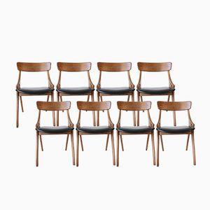 Stühle aus Schwarzem Leder & Eichenholz von Arne Hovmand-Olsen für Mogens Kold, 8er Set