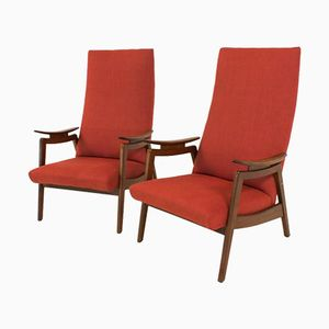 Red Mid-Century Modern High Back Chairs, 1960s, Set of 2