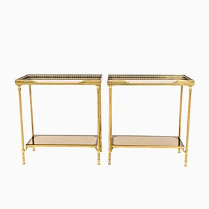 French Brass and Glass Side Tables, Set of 2