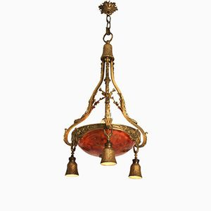 Antique French Gilt Bronze and Alabaster Ceiling Light