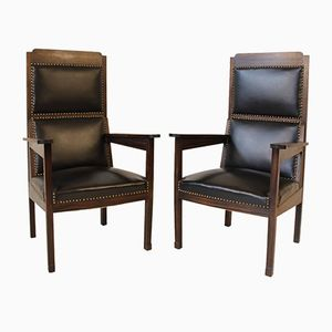 Antique Arts & Crafts Solid Macassar Ebony Armchairs by Hendrik Petrus Berlage, Set of 2