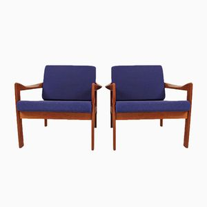 Teak Lounge Chairs by Illum Wikkelsø for Niels Eilersen, Set of 2