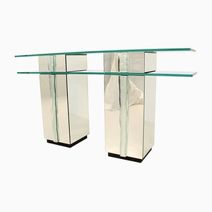 Glass Console Table, 1980s