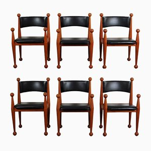 Mid-Century Danish Dining Chairs in Solid Teak and Leather from Cado, Set of 6