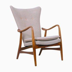 Mid-Century Easy Chair in Linen and Leather by Acton Schubell and Ib Madsen