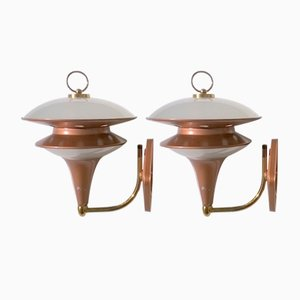 Mid-Century Italian Frosted Glass and Copper-Colored Sconces, 1960s, Set of 2