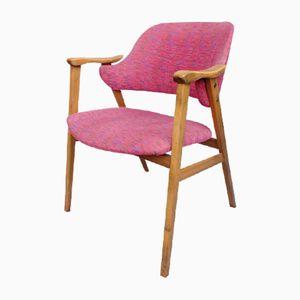 Danish Beech & Pink Fabric Chair, 1960s