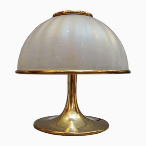 Italian Round Gilt Brass and Glass Table Lamp, 1970s
